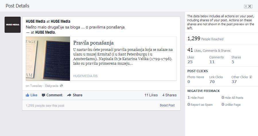 Analiza Facebook posta