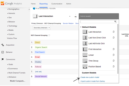 create new custom attribution model